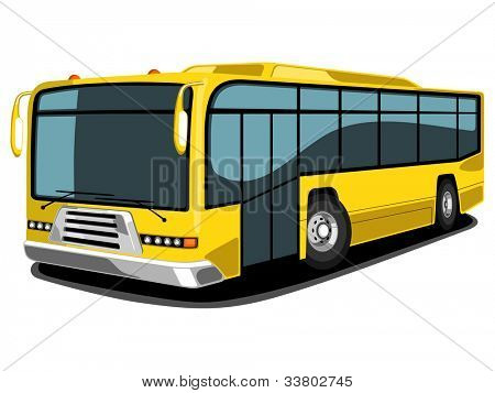 Front and side view of public transport mordern style Bus in yellow color, isolated on white background.