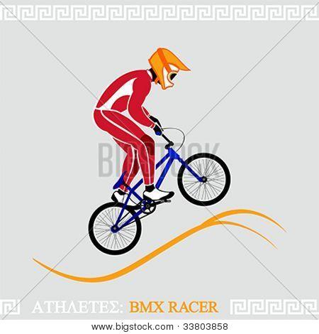 Greek art stylized BMX racer jumping on tracks