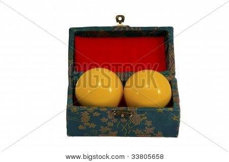 Yellow Pool Balls In Vintage Retro Box Isolated