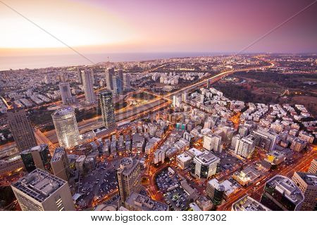 Tel Aviv at sunset, Ramat Gan Exchange District