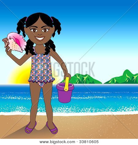 Conch Shell Beach Girl