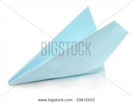 Origami airplane  out of the blue paper isolated on white