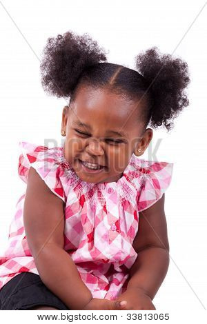 Cute Little African American Girl Laughing