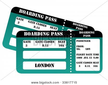 London 2012 boarding pass isolated on white background.