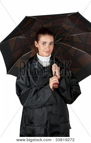 woman in rain coat with umbrella