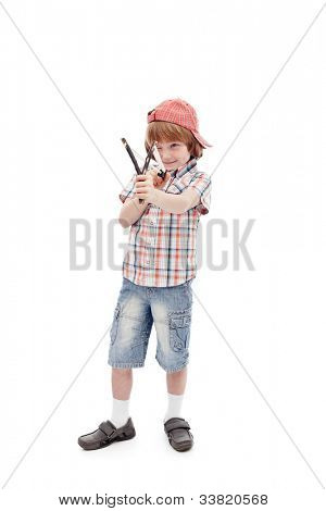 Young boy with sling aiming - full body, isolated