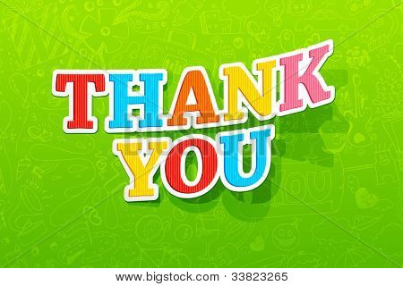 illustration of colorful thank you text on abstract background