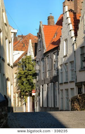 Typical Street In Brugges, Belgium