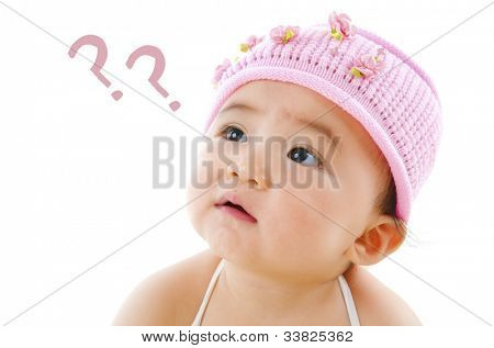 Wondering pan Asian baby girl with question mark isolated on white background