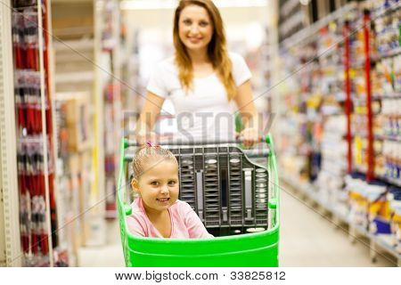 mother and daughter walking in shopping mall aisle
