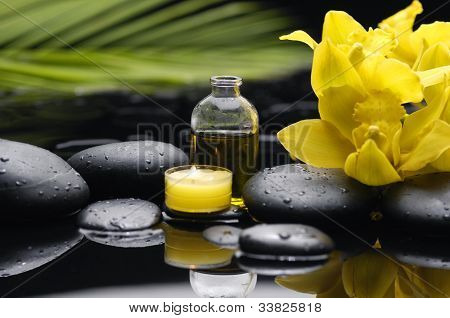 Spa still life with bottle of essential oil and green leaf with orchid on pebbles