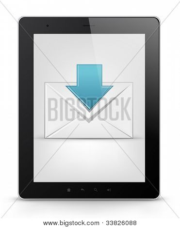 Mail Concept. Tablet PC Isolated on White Background. Vector EPS 10.