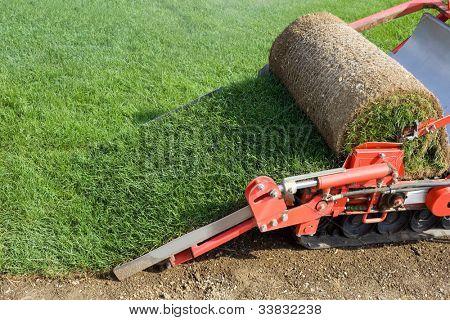 Circular Grass Carpet Cutting Baling Machine