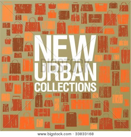 New urban collections design template with shopping bags pattern.
