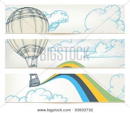 Hot air balloon over sky vector banners