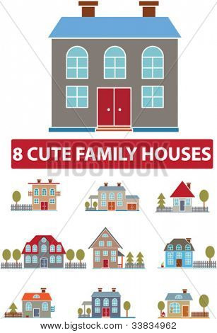 cute family houses icons set, vector