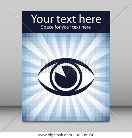 Striking eye sunburst design with copy space.