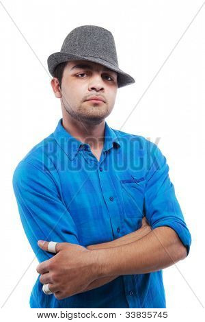 Young trendy teenager isolated over white background.