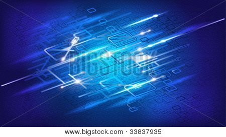 Vector illustration of futuristic blue electric wire