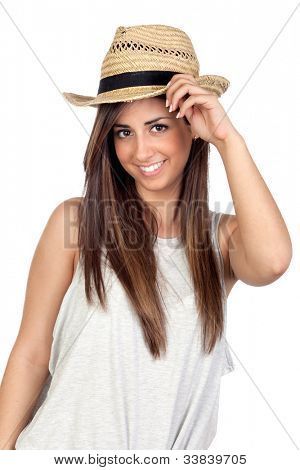 Adorable girl with long hair and straw hat isolated on white background