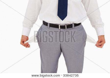 Close-up on empty pockets against white background