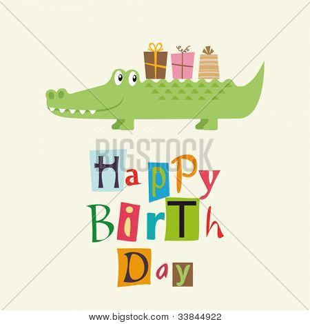 happy birthday card with fun crocodile
