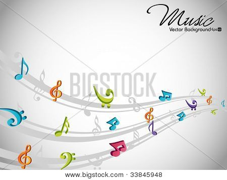 Musical wave background with shiny musical notes over grey color background. EPS 10. can be use as flyer, banner, poster for disco party and other events.