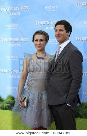 LOS  ANGELES- JUN 4: Joanna Newsom; Andy Samberg at the premiere of Columbia Pictures' 'That's My Boy' at the Regency Village Theater on June 4, 2012 in Los Angeles, California