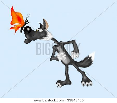 Wolf and batterfly