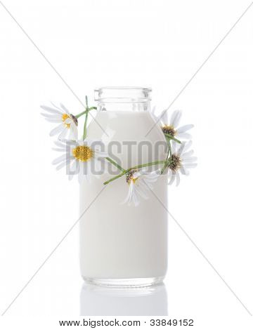 Bottle of fresh milk with daisy chain