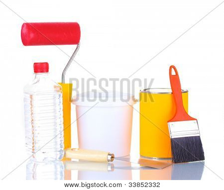 Materials for repair isolated on white