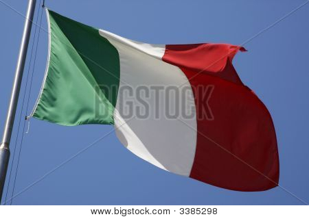 The Italian Flag Flying In The Breeze