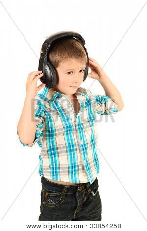 funny little boy with headphones isolated on white