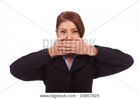 business woman in the Speak No Evil pose over white