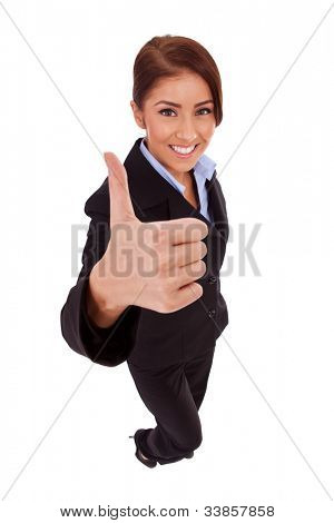 Back view of beautiful young business woman holding her hands up. Rear view. Isolated over white background