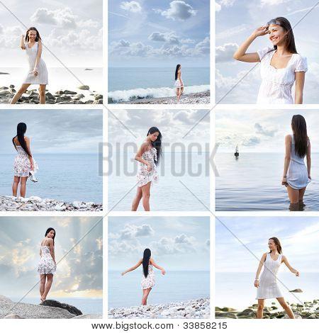 Young beautiful woman near the sea