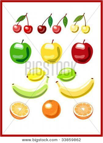Set of vector fruits