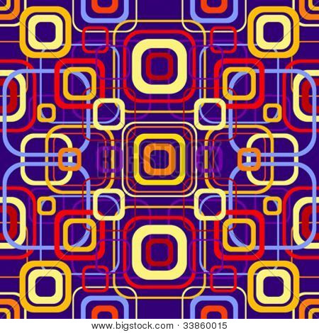 Seamless retro pattern with rounded squares