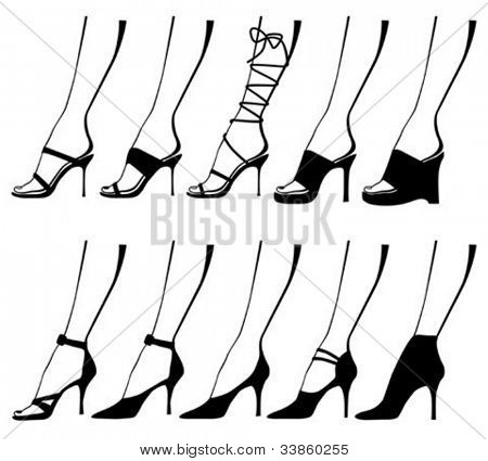 Silhouettes of ladies legs