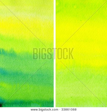 Set of yellow and green watercolor abstract hand painted backgrounds