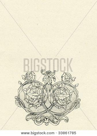 vignette on old paper background