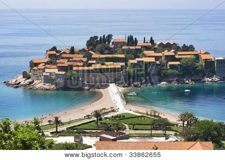 The beautiful view on Sveti Stefan island, Montenegro