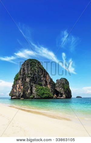 Exotic landscape in Thailand, Railay beach in Krabi.
