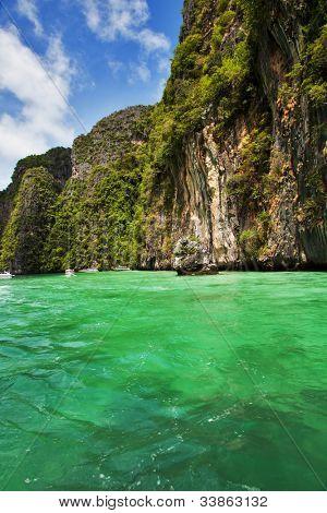 Lagoon in Koh Phi Phi Ley, Phi Phi islands, Thailand.