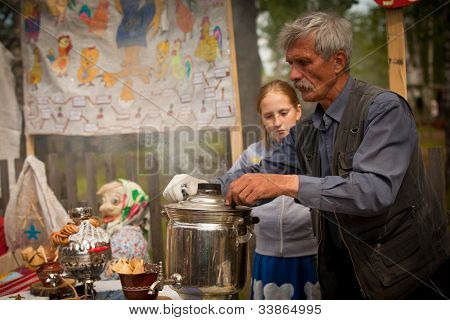 VINNICI, LENINGRAD REGION, RUSSIA - JUNE 10: Local people during celebrate the annual holiday Vepsian national culture