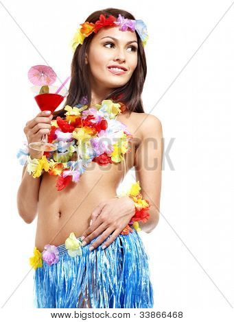 Happy woman drinking juice of Hawaii.