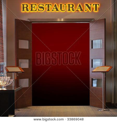restaurant signboard above the entrance