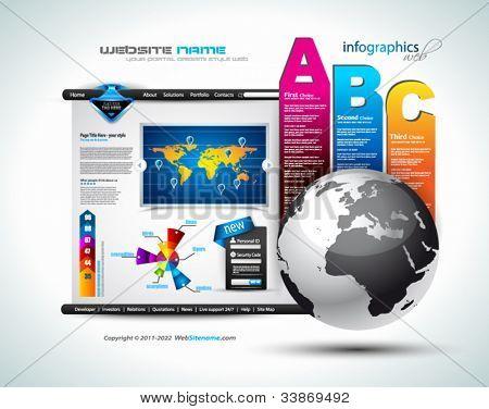 Hitech Web - diseño elegante para presentaciones de negocios. Plantilla con un panel de opciones del 3 lado. TR