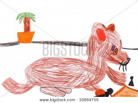 dog playing a chess. child's drawing