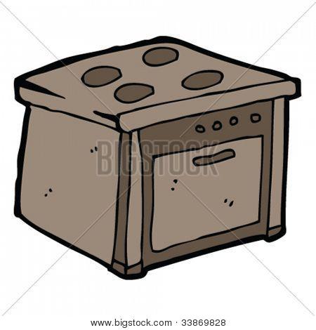 cartoon old stove